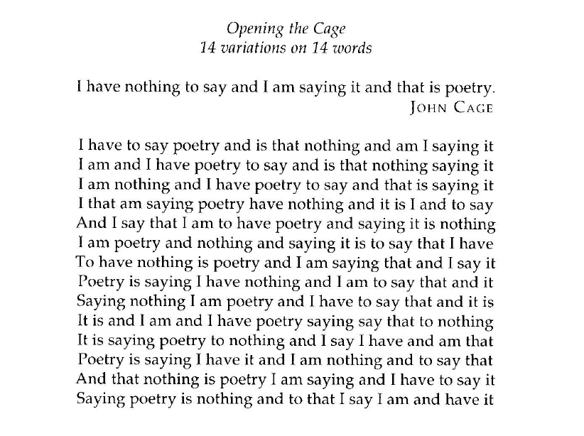 opening the cage variations on words elmcip opening the cage by edwin morgan source barbosa 1996 137