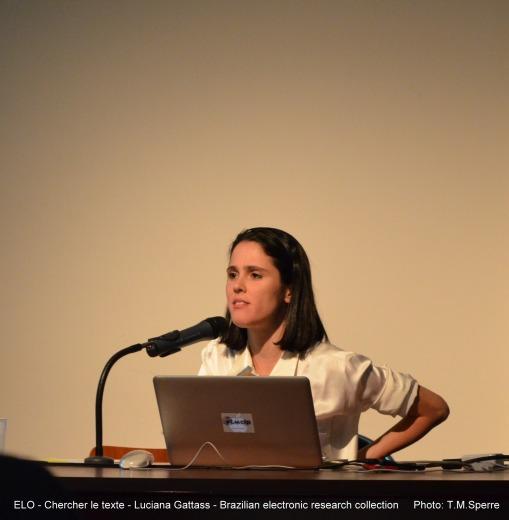 Luciana Gattass presenting Brazilian electronic research collection at ELO Chercher le texte 2013