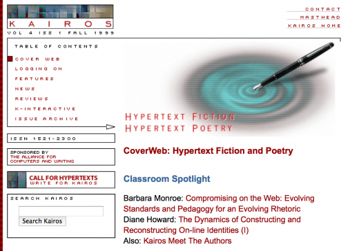 Hypertext Fiction and Poetry special issue of Kairos