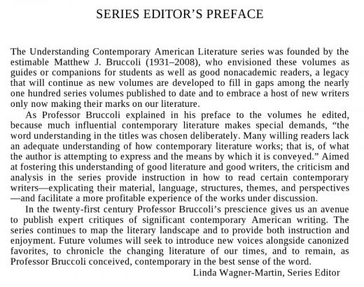 UNDERSTANDING CONTEMPORARY AMERICAN LITERATURE Linda Wagner-Martin, series editor Matthew J. Bruccoli, founding series editor