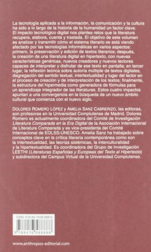 LITERATURAS DEL TEXTO AL HIPERMEDIA (Spanish Edition) back cover