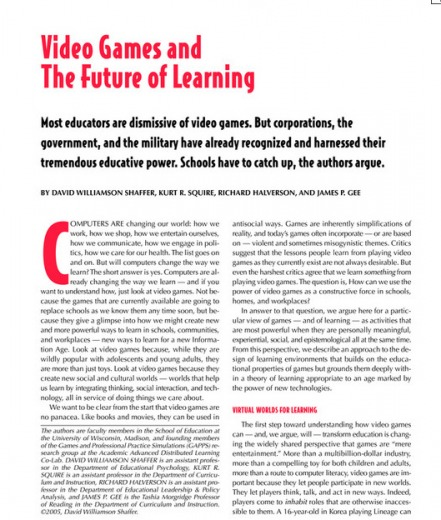 Video Games and the Future of Learning