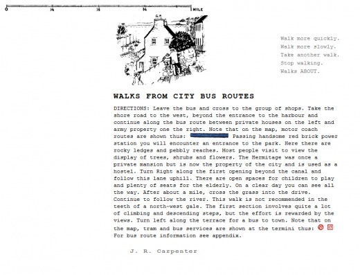 J. R. Carpenter || Walks from City Bus Routes