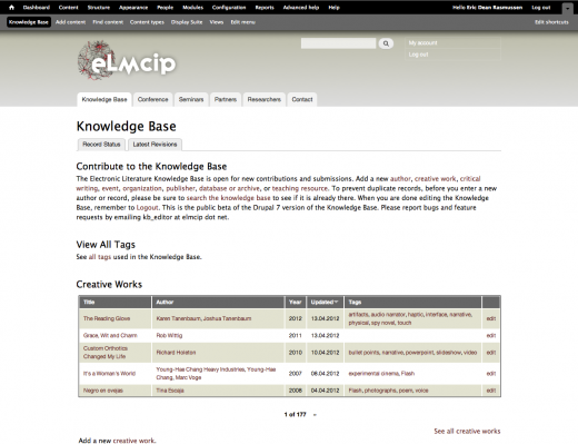 Main page of the ELMCIP Electronic Literature Knowledge Base, editor's view.