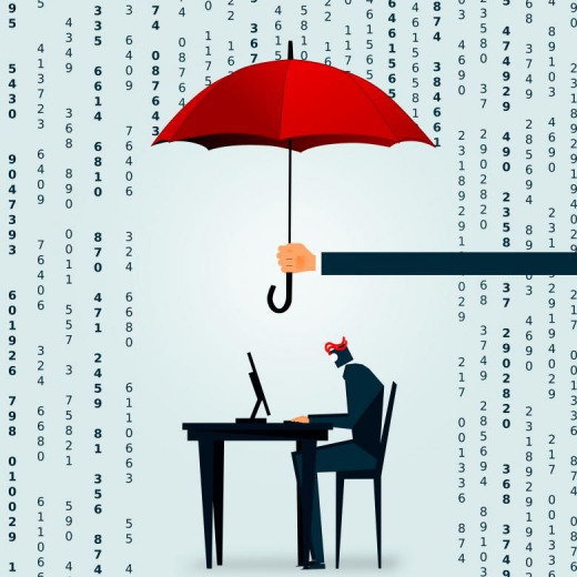 illustration of person sitting at desk underneath an umbrella, shielding them from rain made of numbers