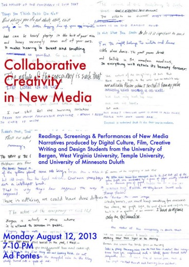 Poster for Collaborative Cretivity in New Media Performancee Night