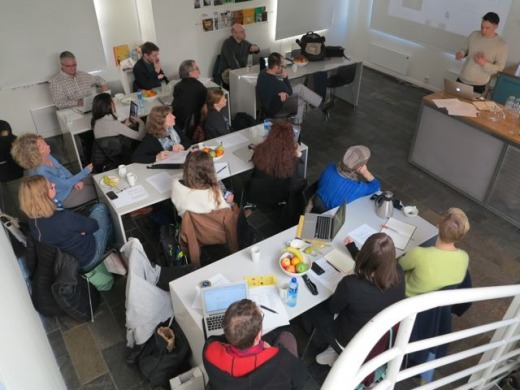 Photo of the Curating and Exhibiting Electronic Literature workshop.
