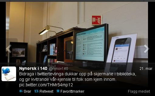 Screenshot from Nynorsk i 140 at Twitter showing screens with poems in the library