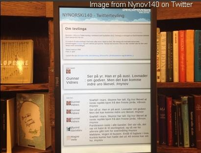 Screenshot from Nynorsk i 140 at Twitter showing screens with poems in the library shelf