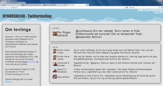 Screenshot from Nynorsk i 140's webpage 18th of october 2013