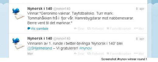 Winner Nynorsk i 140 round one.