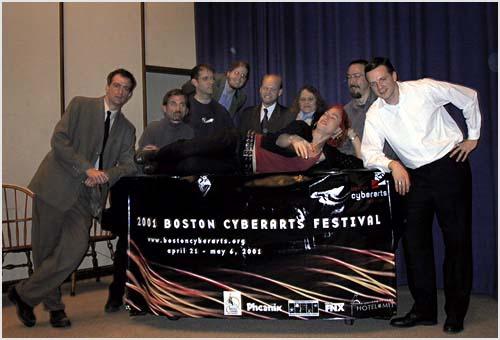 From left to right: William Gillespie, Talan Memmott, Rob Wittig, Noah Wardrip-Fruin, Scott Rettberg