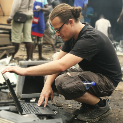 Andreas Zingerle at Agbogbloshie e-waste dump, Accra, Ghana, August 2014