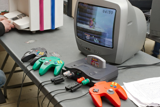 NIntendo 64 consoll with game displayed