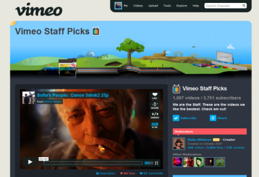 Vimeo user interface