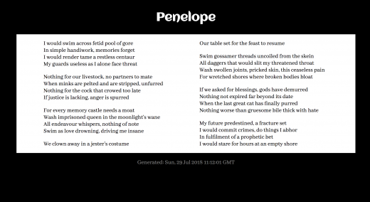 Penelope generated poem