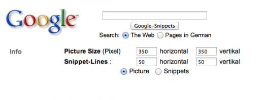 Google Snippets - search interface