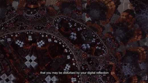 """Visual from the poem and the line """"that you may be disturbed by your digital reflection"""" as subtitle"""