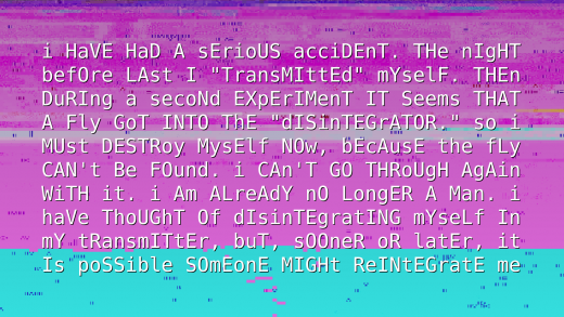 A screen with glitched English text (random uppercase/lowercase) over a glitched image.