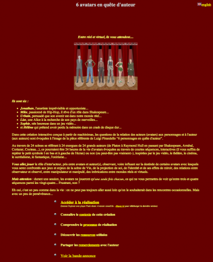 Screenshot of Buillot's 6 avatars