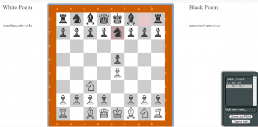 Screenshot of chess poetry