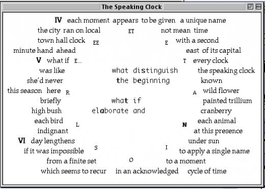 Speaking Clock, John Cayley, 1995