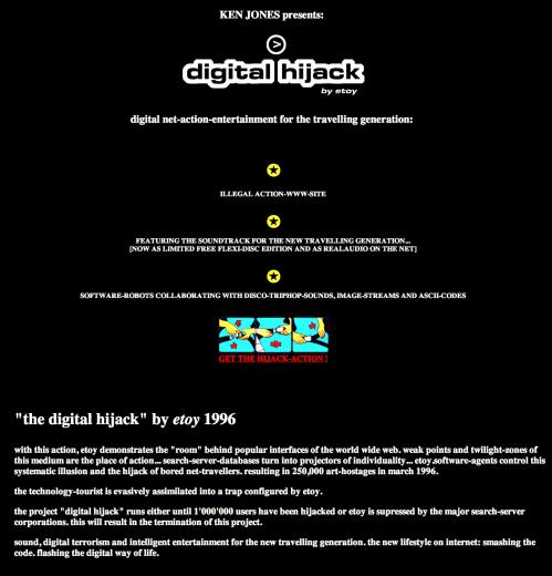First page of Digital Hijack website