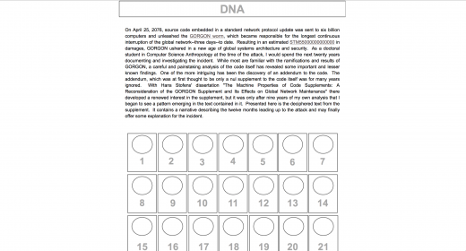 First page of DNA: A Digital Novel (screenshot)