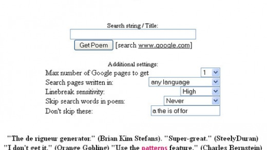 Screenshot of Get a Google Poem