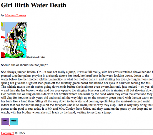 First page of Girl Birth Water Death