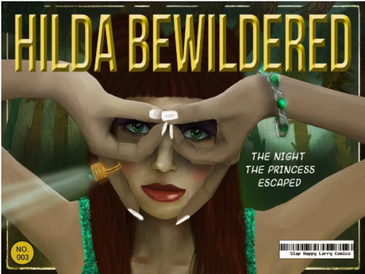 Cover image for Hilda Bewildered, a girl with long hair making an owl with her hands over her eyes