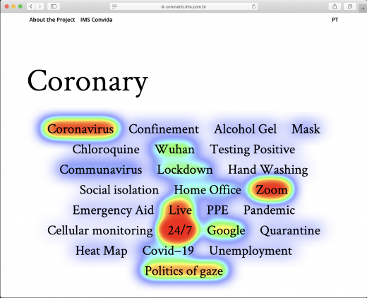 A heatmap showing words related to the pandemic. Coronavirus, 24/7 and live are warm.