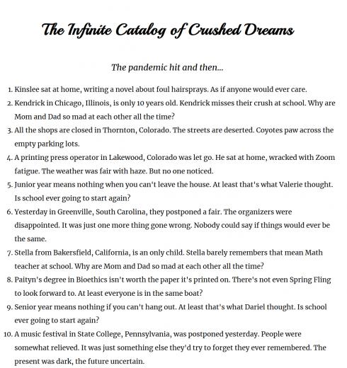 Infinite Catalog of Crushed Dreams
