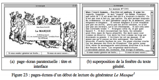 Screeshots of Le masque shown in Philippe Bootz' PhD dissertation (p 87)