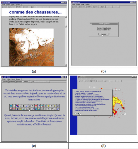 Screenshots of Les yeux as shown in Philippe Bootz' PhD dissertation