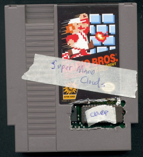 Super Mario Clouds NES cartrige mod by Cory Arcangel