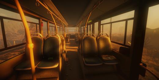 Inside of an abandoned bus in the same desert
