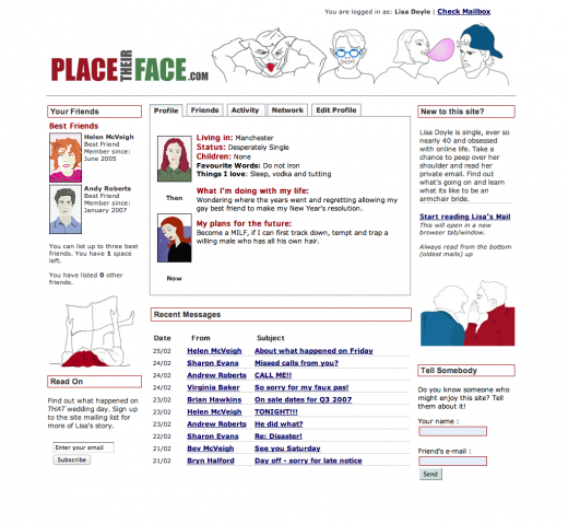 Screenshot of the front page of Place Their Face