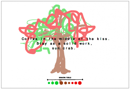 A tree drawn by a reader with the generated poem superimposed upon it.