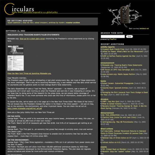 Screenshot of Circulars, looking like an early 21st century blog.