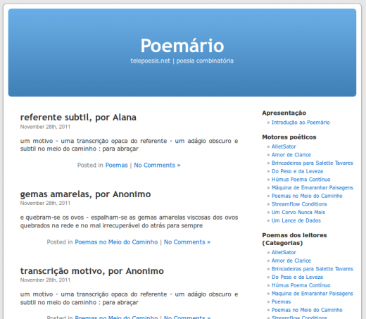 Poemário - Blog [Rui Torres & Nuno F. Ferreira]