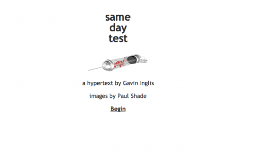 Screenshot of first page of Same Day Test by Gavin Inglis.