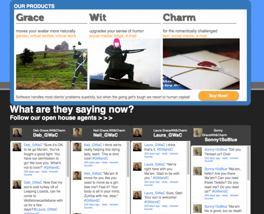 Grace Wit and Charm front page with twitter