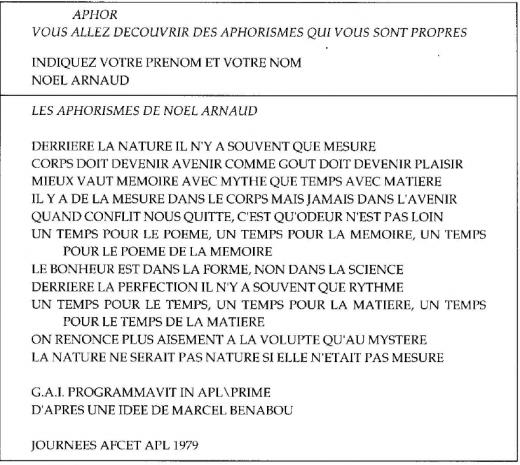 Les Aphorismes by Marcel Bénabou (Source: Barbosa 1996)