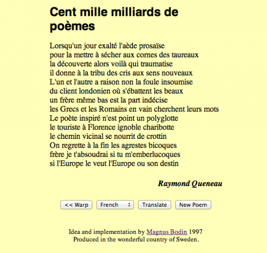 Screenshot of one of the poems generated by the 1997 web version of Cent mille milliards de poèmes.