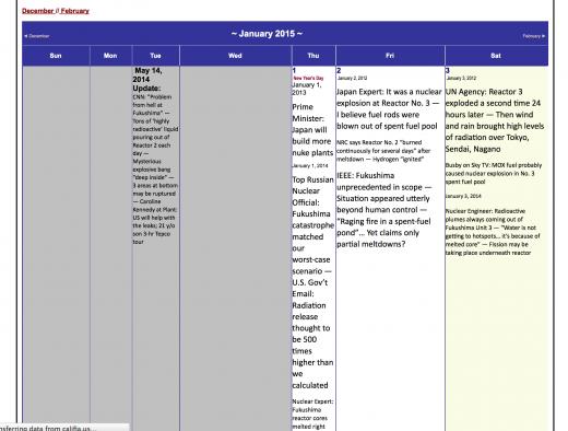 Spreadsheet view of calendar