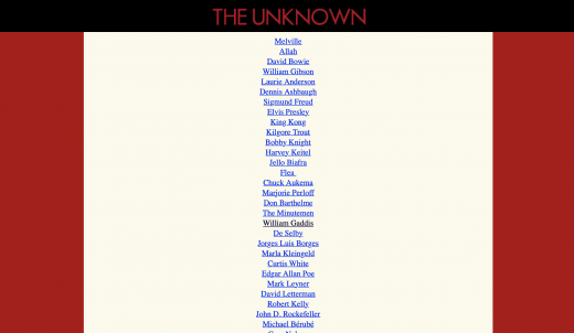 Screenshot: The Unknown People Index
