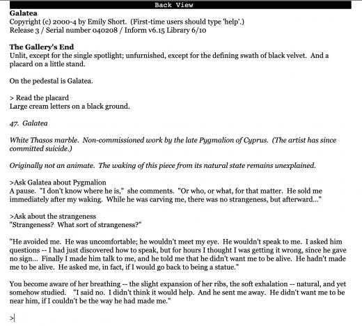 Screenshot from Galatea