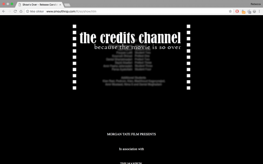 "A screenshot of the work ""Show's Over"", displaying parts of the credit roll"