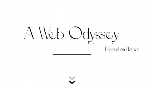"""Title of the work """"A Web Odyssey"""" on a plane white background"""